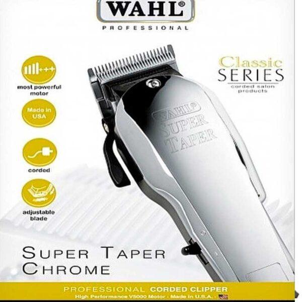 WAHL Super Taper Chrome in metallo per la massima resistenza e stabilità.
